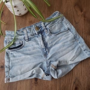 American Eagle Light Wash Hi Rise Shortie Shorts